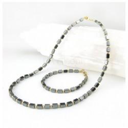 Parure collier et bracelet hématite