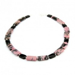 Collier en rhodonite et onyx