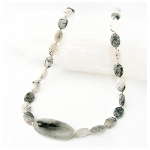 Collier quartz tourmaline
