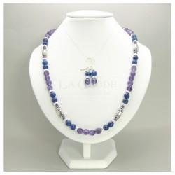 Parure collier et boucles d'oreilles en améthyste et lapis lazuli