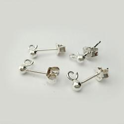 Argent 925 - Tiges d'oreilles avec poussoirs, 2 paires