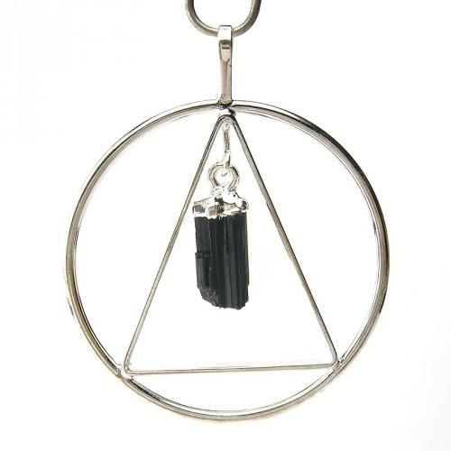 Pendentif anneau et triangle avec cristal de tourmaline noire