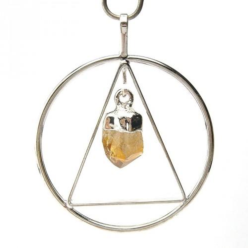 Pendentif anneau et triangle avec cristal de citrine