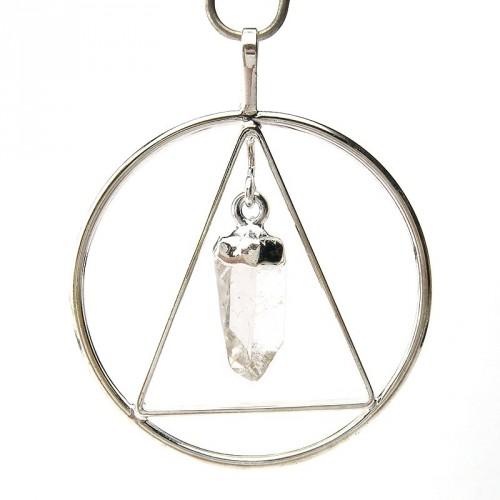 Pendentif anneau et triangle avec cristal