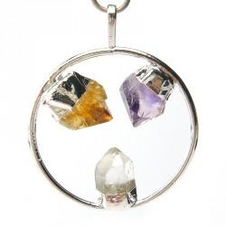 Pendentifs 3 cristaux, cristal de roche, améthyste et citrine.