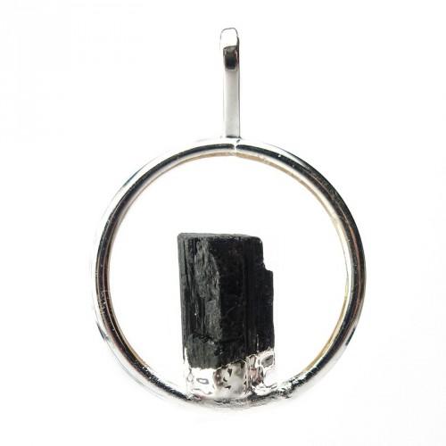 Pendentif cercle et tourmaline noire