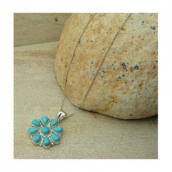 Chaine avec pendentif forme fleur argent 925 et turquoise