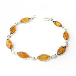Bracelet ambre et argent 925, un ton, cabochons marquises