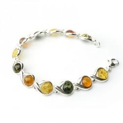 Bracelet ambre et argent 925, trois tons, cabochons ronds