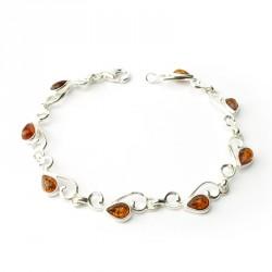 Bracelet ambre et argent 925, un ton, spirales, cabochons gouttes