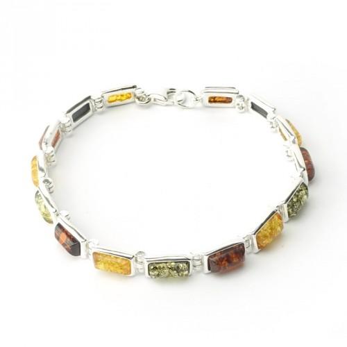 Bracelet ambre et argent 925, trois tons, cabochons rectangulaires