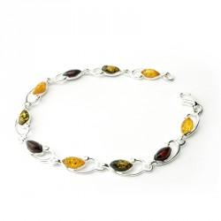Bracelet ambre et argent 925, trois tons, cabochons marquises