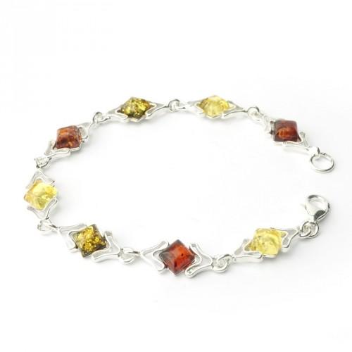Bracelet ambre et argent 925, trois tons, cabochons losanges