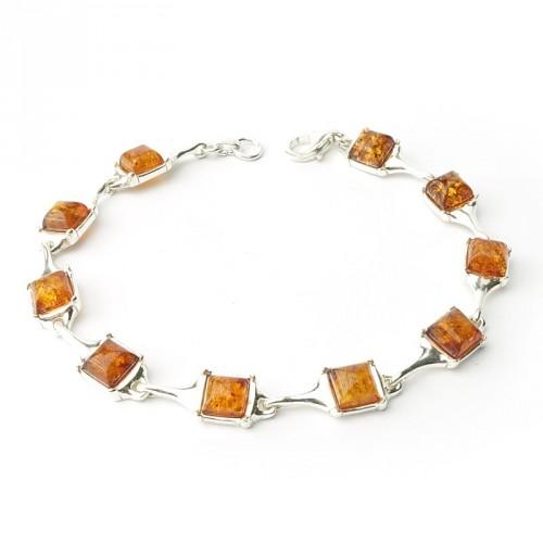 Bracelet ambre et argent 925, un ton, cabochons carrés