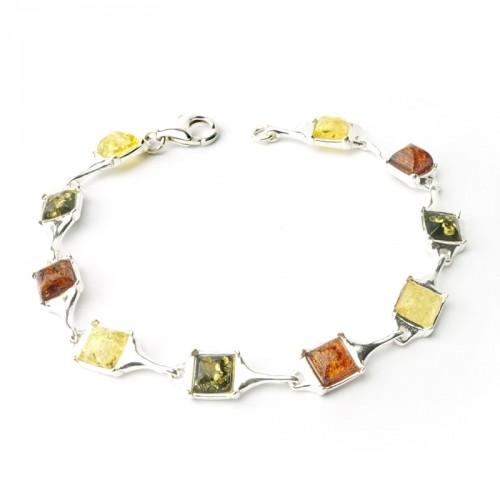 Bracelet ambre et argent 925, trois tons, cabochons carrés