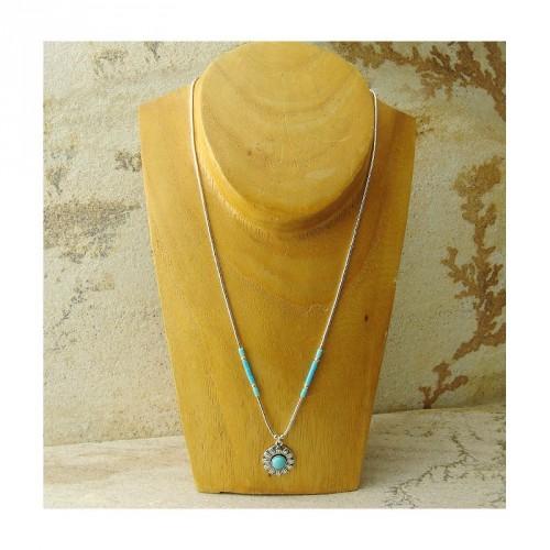 Collier médaillon soleil en turquoise et argent 925