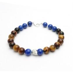 Bracelet HOMME en lapis lazuli, onyx et hématite mate