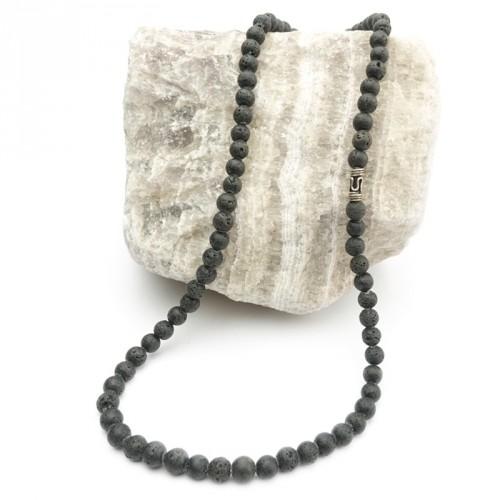 Collier HOMME en pierre de lave