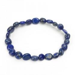 Bracelet lapis lazuli, pierres roulées grains