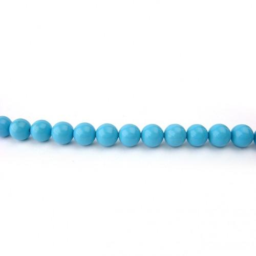 Perle turquoise reconstituée ronde 6 mm, 1 fil