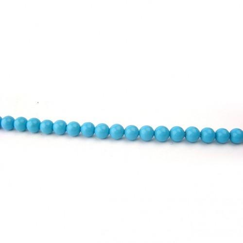 Perle turquoise reconstituée ronde 4 mm, 1 fil