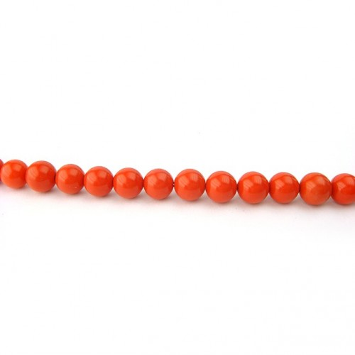 Perle corail reconstitué ronde 6 mm, 1 fil
