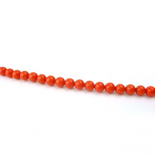 Perle corail reconstitué ronde 4 mm, 1 fil