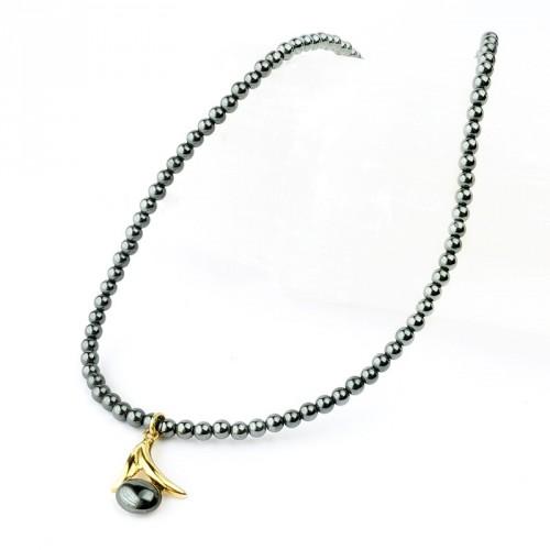 Collier hématite pendentif doré - Fermoir doré - 42 cm