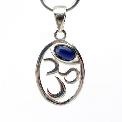 """Pendentif """"Ohm"""" en argent 925 et lapis lazuli"""