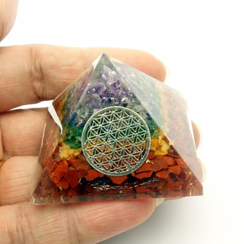 Orgonite 7 chakras et Fleur de vie, Pyramide