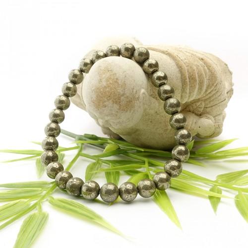 Bracelet en pyrite 6 mm sur élastique
