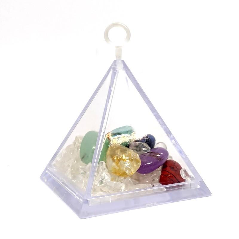Kit de pierres chakra avec quartz de rechargement (pyramide)
