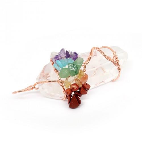 Pendentif pointe de cristal de roche, arbre de vie et pierres des 7 chakras