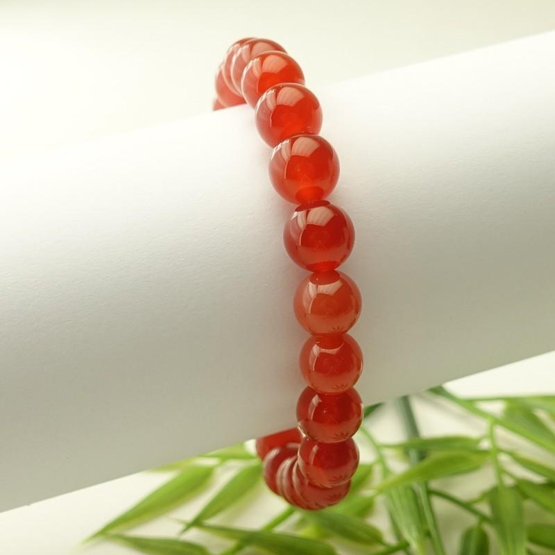 Bracelet cornaline 8 mm sur élastique