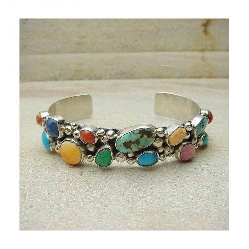 Bracelet Navajos multi-pierres et argent 925