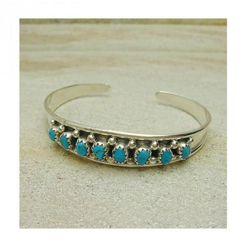 Bracelet Navajos turquoise et argent 925