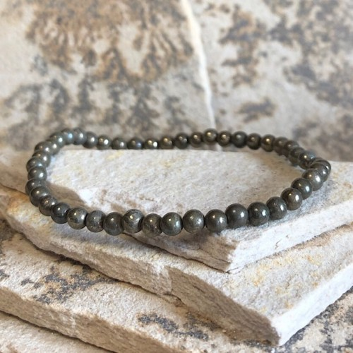 Bracelet en pyrite 4 mm extensible