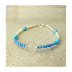 Bracelet turquoise, cristal de roche et perles d'eau douce