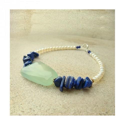 Bracelet Jadéïte, lapis lazuli et perles d'eau douce