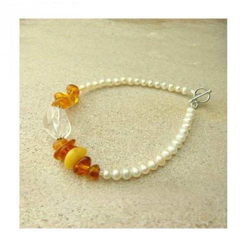 Bracelet cristal de roche, ambre et perle d'eau douce