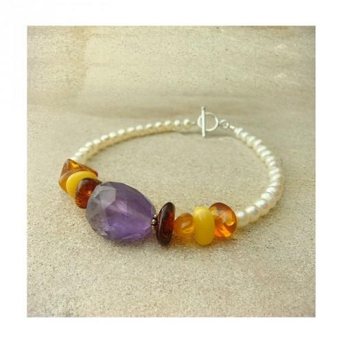 Bracelet améthyste facettée, ambre et perle d'eau douce