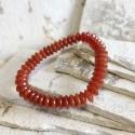 Bracelet cornaline rondelles 10x4 mm sur élastique