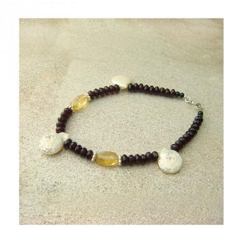 Bracelet perles d'eau douce, citrine et grenat facetté