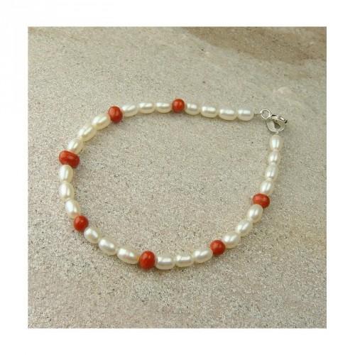 Bracelet corail et perles d'eau douce