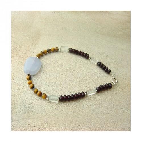 Bracelet calcédoine, oeil de tigre, cristal de roche et grenat facetté