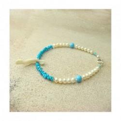 Bracelet nacre, perles biwa et Turquoise