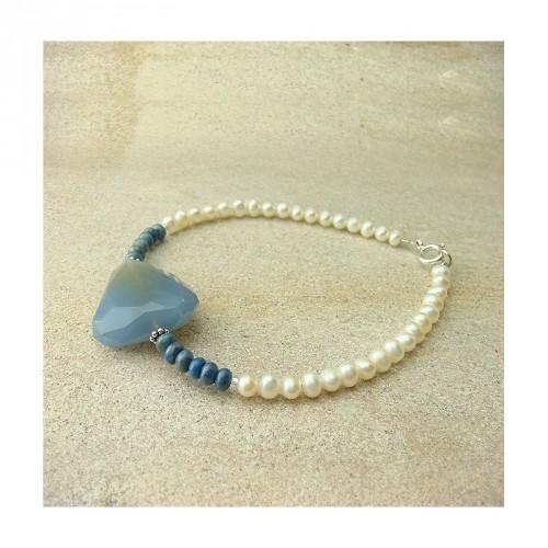Bracelet quartz bleu, lapis lazuli et perles d'eau douce