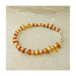 Bracelet ambre et perle d'eau douce