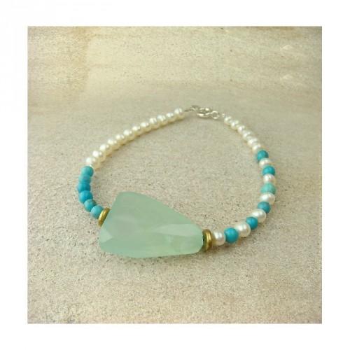 Bracelet Jadéïte, turquoise et perles d'eau douce