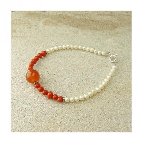 Bracelet cornaline, corail et perles d'eau douce